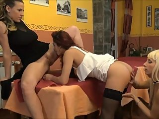 Lesbians lick their pussy in front of a man who masturbates