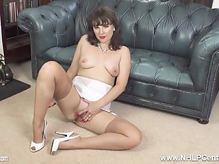 Brunette Milf in open vintage girdle sheer nylons legs open for pussy play