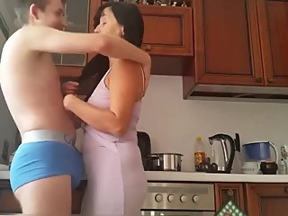 Taboo! 18yo stepbrother trying to seduce and fucks his lonely stepmom
