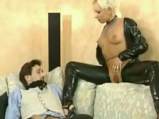 German Blonde Short Hair Milf Mistress dominate Guy